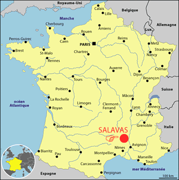 Carte de France avec Salavas
